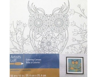 Adult Coloring Owl Project on Canvas Ready to Color Using Medium of Choice
