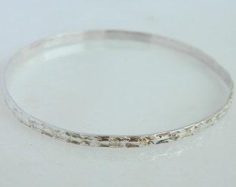 Vintage Floral Sterling Silver Bangle Bracelet from Mexico