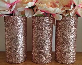 3 Glass Vases, Rose Gold Vases, Wedding Centerpieces, Rose Gold Centerpieces, Rose Gold Wedding, Wedding, Bridal Shower Decorations, favors