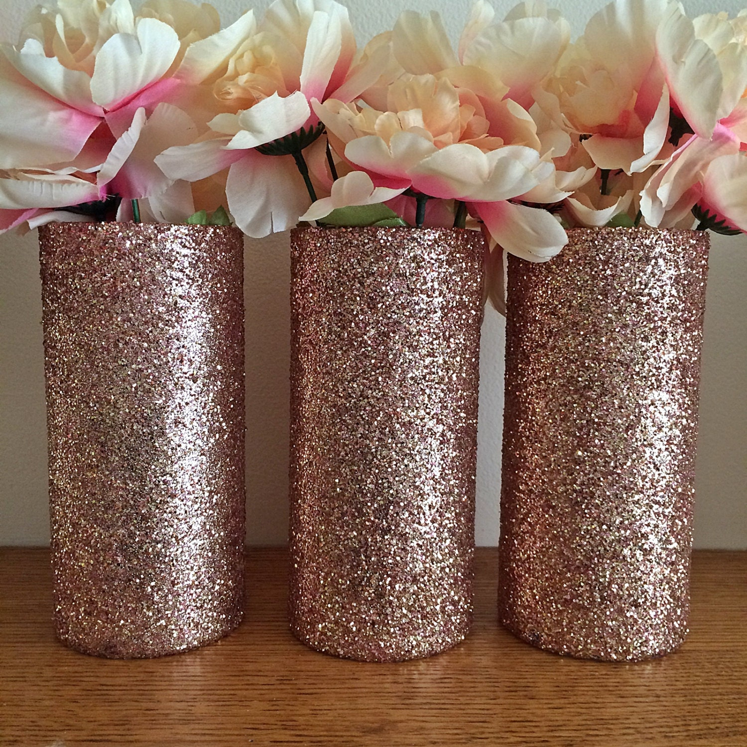 3 rose gold glitter vases rose gold centerpiece wedding for Decoration rose gold