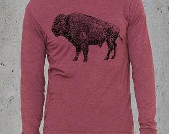 Men Vintage BUFFALO BISON TShirt)Buffalo Long Sleeve T shirt)Native American Clothing,Birthday Gift Him,Tumblr Clothes,Hipster Graphic Tee,