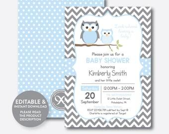 Instant Download, Editable Owl Baby Shower Invitation, Blue Owl Invitation, Boy Baby Shower, Owl Baby Sprinkle, Blue Gray Chevron (SBS.43)