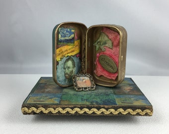 Vincent Van Gogh-  Quote Tin: Altered tin mixed media assemblage