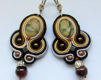 Soutache Earrings with jasper