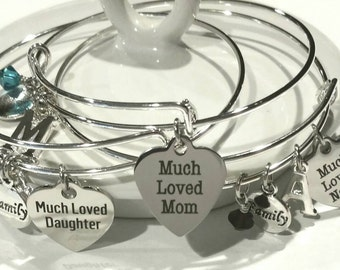 3 piece, 3 generation - bangle bracelet - Nana - Grandmother  - Mom - Daughter - Mother - Noni adorable set for the 3 most loved women ever