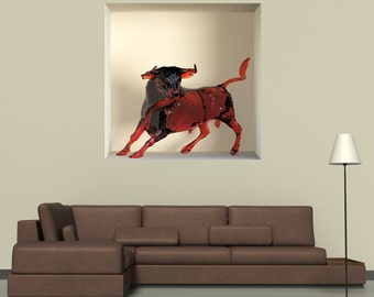 Wall decals 3D illusion Taurus A495 - Stickers 3D illusion taureau A495