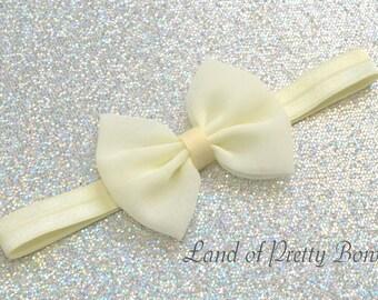 Ivory Hair Bow Ivory Headband Baby Headband Girl Hair Bow Fabric Hair Bow