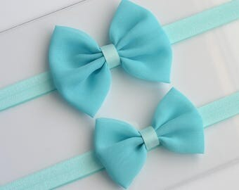 Baby Bow Headband Aqua Headband Aqua Hair Bow Blue Baby Hair Bow Newborn Headband Aqua Fabric Hair Bow Chiffon Headband Infant Headband