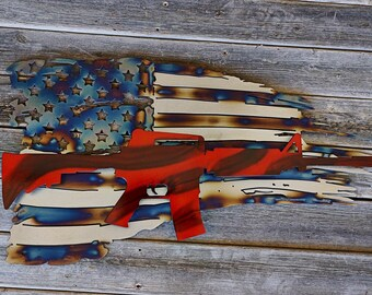 2ft USA Flag with AR15