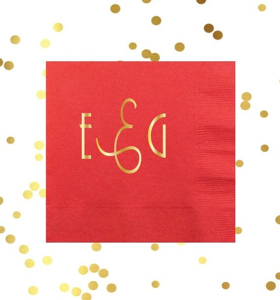 monogrammed cocktail napkin, monogrammed party supplies, personalized napkins, gold foil napkins, reception napkins, bar cart napkins