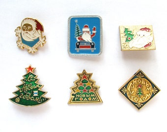 Happy New Year, Vintage metal children's badge, Xmas tree, Santa Claus, Christmas tree, Winter, Set, Soviet Vintage Pin, Made in USSR, 1980s