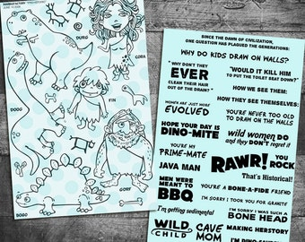 caveman stamps, cavewoman stamps, dinosaur stamps, prehistoric stamps, rubber stamps, starving artistamps