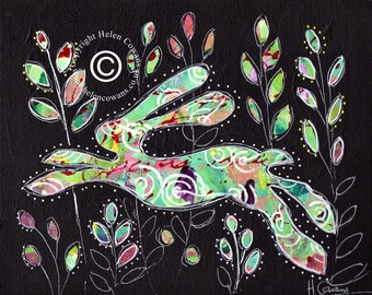 Bounding Hare #168 Original Painting