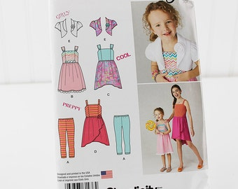 Child and Girl's Bolero Dress, Skirt and Leggings Pattern, UNCUT Sewing Pattern, Simplicity 1436 - Size 7-14