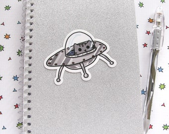 Cute Cat Vinyl Sticker Large Size Kitty in a UFO Astronaut Cat cute Sticker Car Sticker Bumper Sticker Laptop Decal