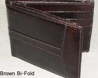 Salmon Skin Wallet Bi-Fold Brown