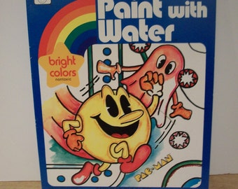 Fabulous Vintage Pac-Man Paint with Water Book by Whitman 1982