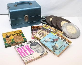 Vintage 12 Slot 8mm film Carrying Case + 10 films 40's, 60's & 70's
