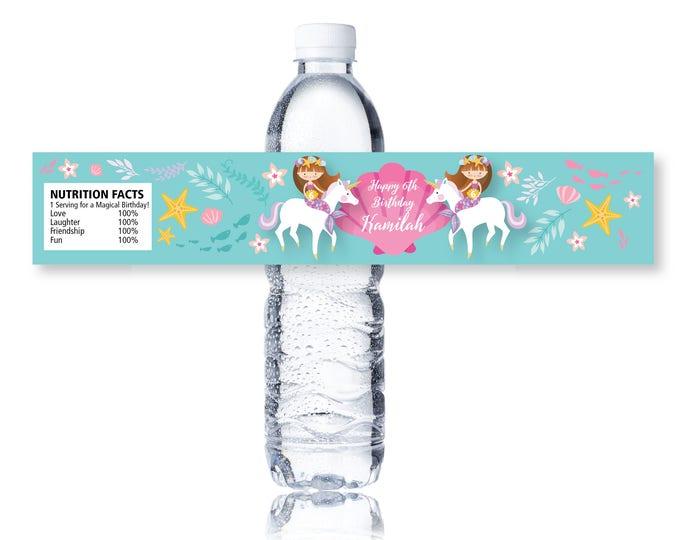 Mermaid Unicorn Water Bottle Label, Customized Printable DIY - Mermaid Water Label, Unicorn Water Label - Girls Birthday Party