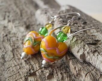Heart Earrings Yellow Earrings Yellow Heart Earrings Glass Bead Earrings Bright Color Earrings Waves Earrings Romantic Earrings Women Gifts