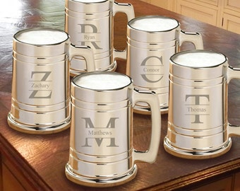 Groomsmen Monogrammed Gunmetal Beer Mugs Set of 5 - Personalized Beer Mugs - Home Bar Beer Mugs - Gunmetal Mugs - Man Cave Gifts - GC1390x5
