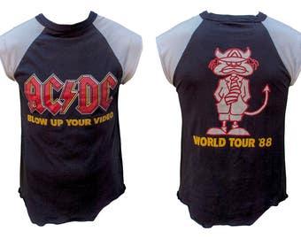 1988 AC/DC Cut Off Sleeve Band Tee T Shirt Blow Up Your Video Tour 80s Hair Metal Heavy Rock Classic Concert Tour Punk Raglan Muscle World