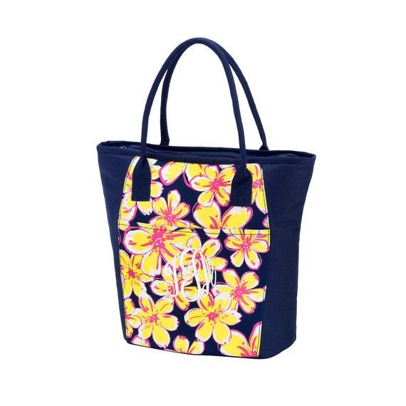 Personalized Floral Cooler Bag, FREE MONOGRAM, Monogram Beach Bag, Floral Cooler Bag, Summer.