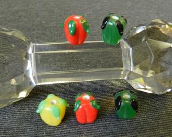 Set of 5 Tri-Colored Bell Pepper Glass Lampwork Beads - 13mm - Handmade - Green, Red, Yellow - Vegetables, Garden, Veggies, Salad