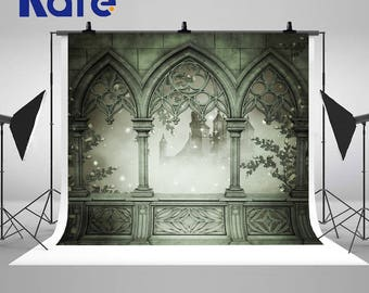 Green Window Ancient Castle Photography Backdrops Seamless No Wrinkles Photo Backgrounds for Wedding Studio Props
