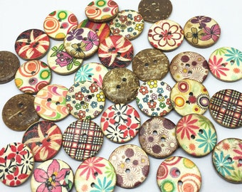100pcs 20mm Shabby Chic Round Coconut Buttons Painted Flowers Coconut Button