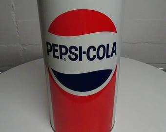 Vintage 1980's Pepsi Metal Waste Basket Trash Can - FREE SHIPPING