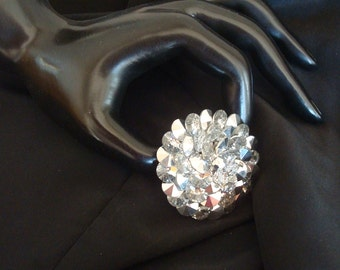 Vintage Vendome Swarovski RARE  Comet Argent Light Rivoli Crystal Clear Rhinestone Brooch Pin