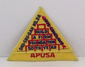 Vintage Yellow Triangle Stapled Word Apusa Embroidered Patch