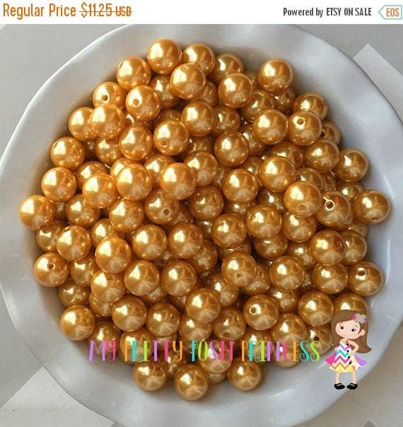 MEMORIAL SALE 20mm Golden Yellow A56 Chunky Bubble Gum Bead Faux Pearls Bulk Bag 100-120 Count