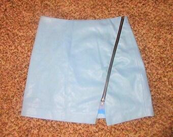 Vintage Blue Leather Mini Skirt Sz M