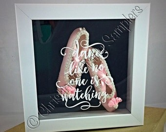 Dance like no one is watching - Small Ballet slippers shadow box