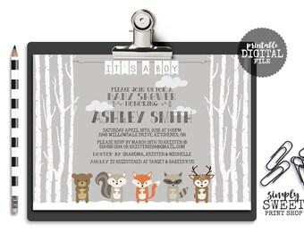 Winter Woodland Animals Baby Shower Invite Invitation Adventure Birch Tree Snow Fox Raccoon Squirrel Deer Bear Gray White Boy Girl Neutral