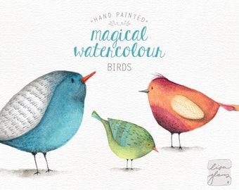 Watercolor birds: PNG clipart / 3 whimsical clip art birds / commercial use / nursery art / children decor / CM0076-birds