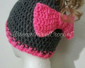 Ponytail/Messy Bun hat with Bow in back, Adult