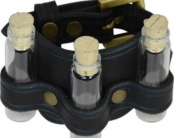Three Bottle Leather Cuff - Steampunk Bracelet - #DK6069