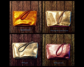 Metallic clutch bag, leather clutch.