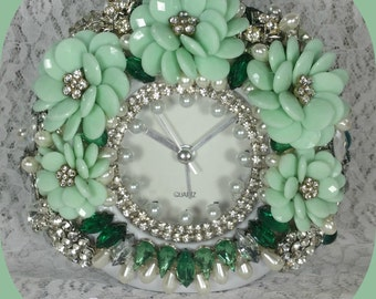 1/2 OFF Clearance Price - Mint Green Jeweled Clock