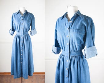 Denim Button Down Shirt Dress, Shirt Waist Dress, 80s Dress, 90s Dress, Denim Dress, Minimalist Clothing, Maxi Dress, Long Dress Denim Shirt