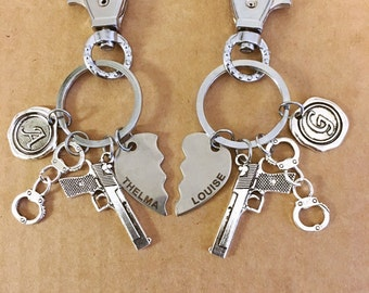 Two Thelma and Louise best friend key chains