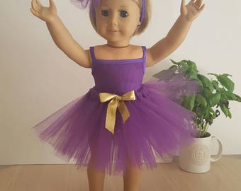 """Leotard, Tutu and Pompom Headband All in Plum for American Girl Doll or any Other 18"""" Soft-Bodied Doll"""