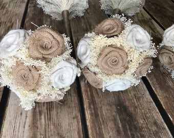 Burlap Bridesmaids Bouquets in Natural & Ivory one bouquet per quantity! Burlap Wedding Bouquets, Burlap Bouquets, Bridesmaids Bouquet