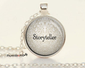 Storyteller Necklace - Author Necklace - Author Gift - Writing Necklace - Quote Charm -  (B6501) ee