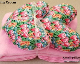 Mastectomy Heart Pillow & Blanket  Gift Set Spring Crocus