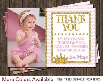Princess Thank You Card - Princess, Pink and Gold, Birthday Thank You Card