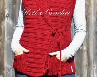Crochet Vest,Women's Crochet Vest,Crochet Pocket Vest,Red Crochet Vest,Winter Crochet Vest,Winter Accessosie,Vest,Woman Crochet Vest